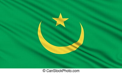 Mauritanian Flag, with real structure of a fabric