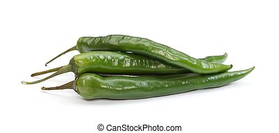 Green chilli peppers - Three green chili paprikas over white...