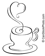 Hot cup  - Sketch of hot cup with steam in heart shape