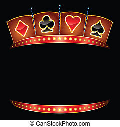 Casino neon  - Card symbols on gold neon with lights
