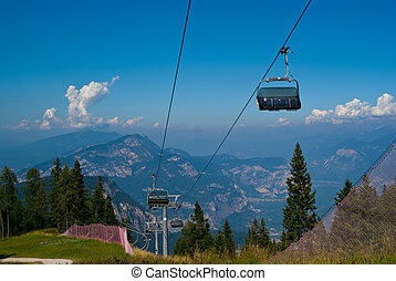 CABLEWAY mountains of Trentino a summer day along a mountain...