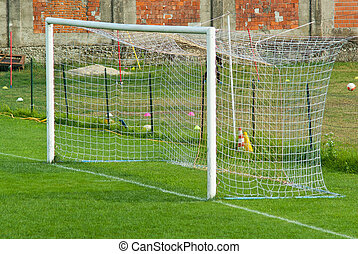 football goal in a field of well-kept province with short...