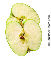 green cuted apple - The green cuted apple on white...