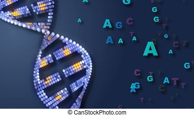 DNA and Letters - Rotating DNA with letters representing...