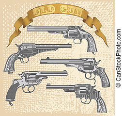 Old gun set - vector image of old gun
