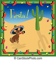 Chiwawa's Mexican Fiesta Party Invitation with copy space