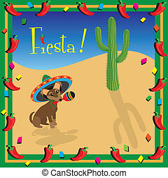 Chiwawa's Mexican Fiesta Party - Cute chiwawa hold a maraca...