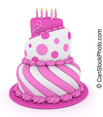 Birthday Cake - 3D Illustration of a Pink Tiered Birthday...