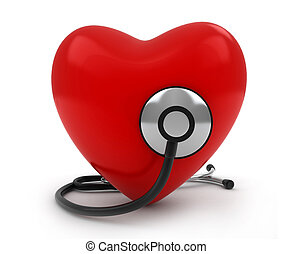 Heart with Stethoscope - 3D Illustration of a Heart with a...