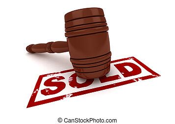 Sold - 3D Illustration of a Gavel with the Word Sold Written...