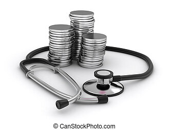 Stethoscope and Coins