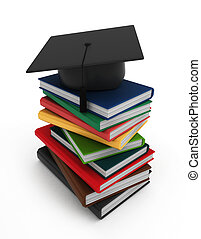 Books and Graduation Cap - 3D Illustration of Books and a...