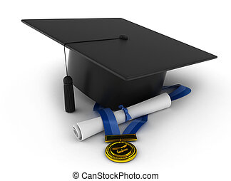 Graduation Symbols - 3D Illustration of a Graduation Cap,...