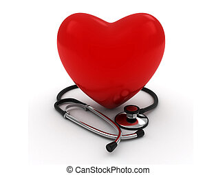 Heart and Stethoscope - 3D Illustration of a Heart with a...