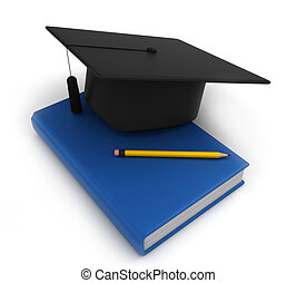 Graduation Cap Book and Pencil