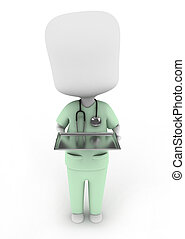 Medicine Tray - 3D Illustration of a Man in Scrub Suit...