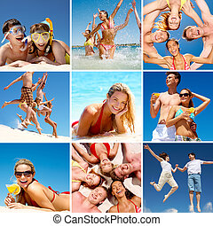 Summer - Collage of images with happy friends on beach
