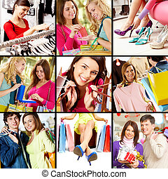 Shopping - Collage of images with young people shopping
