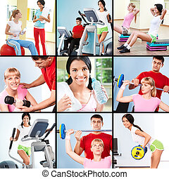 Fitness - Collage of images young people exercising in gym...