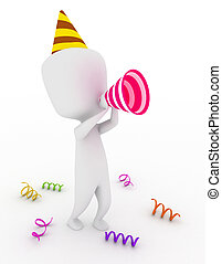Party Shoutout - 3D Illustration of a Party Man using...