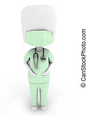 Doctor - 3D Illustration of a Man Wearing a Scrub Suit and a...