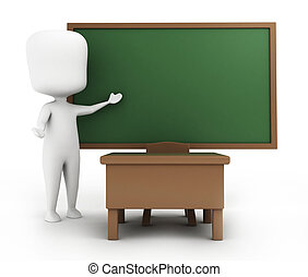 Teacher - 3D Illustration of a Teacher in the Middle of a...