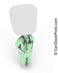 Health Practitioner - 3D Illustration of a Man in a Scrub...