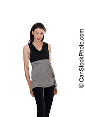 Skinny young woman standing short skirt leggings - Young...