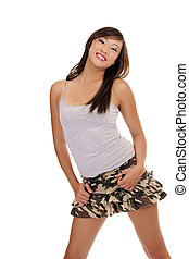 Young Asian American Teen Girl short skirt - Young smiling...