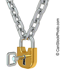 Gold lock on chain with key