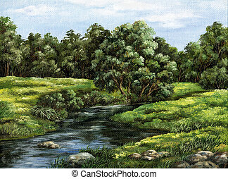 Summer landscape, Russia - Picture oil paints on a canvas:...