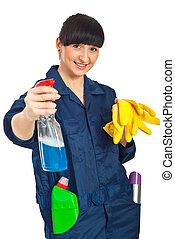 Cleaning worker woman ready for work