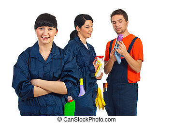 Happy cleaning service team - Happy cleaning service woman...
