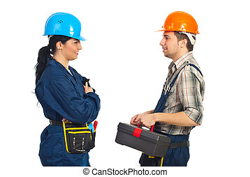 Constructor workers team conversation - Team of two...