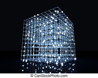 Matrix - 3D rendered Illustration A glowing grid
