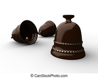 Easter bells - 3d illustration of easter chocolate bells on...