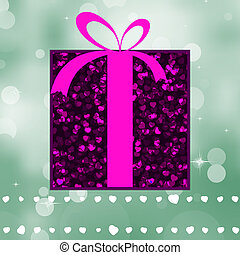 Violet gift on a green shine background EPS 8 vector file...