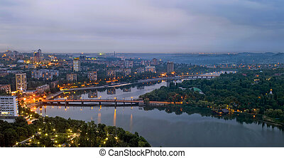 city of Donetsk in the night