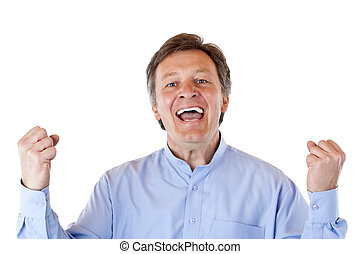Attractive, older, aged, succesful man jubilates happy at camera. Isolated on white background.