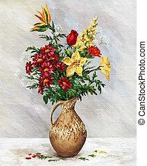 Bouquet in jug - Picture oil paints on a canvas: a bouquet...