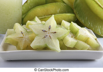 starfruit - close of the cutted star fruit