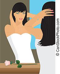 The bride at a mirror