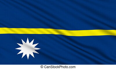 Nauru Flag, with real structure of a fabric
