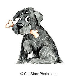 shaggy dog with bone - humorous illustration of shaggy dog...