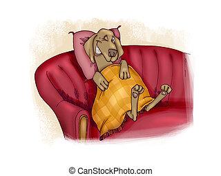 happy dog on sofa - humorous illustration of happy dog on...