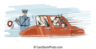 too speed dog - illustration of policeman stops the car with...