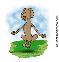 levitating dog - humorous illustration of meditating and...