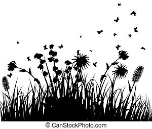 meadow silhouettes - Vector grass silhouettes background....