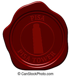 pisa tower sealing wax - Pisa tower. Sealing wax stamp for...