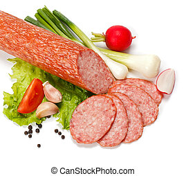 Salami slices with various vegetables